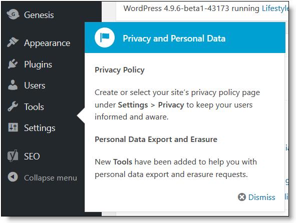 Informativa sulla privacy dei dati personali di WordPress 4.9.6